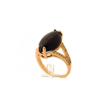 انگشتر زنانه ژوپینگ طلایی نگین مشکی rg-n374