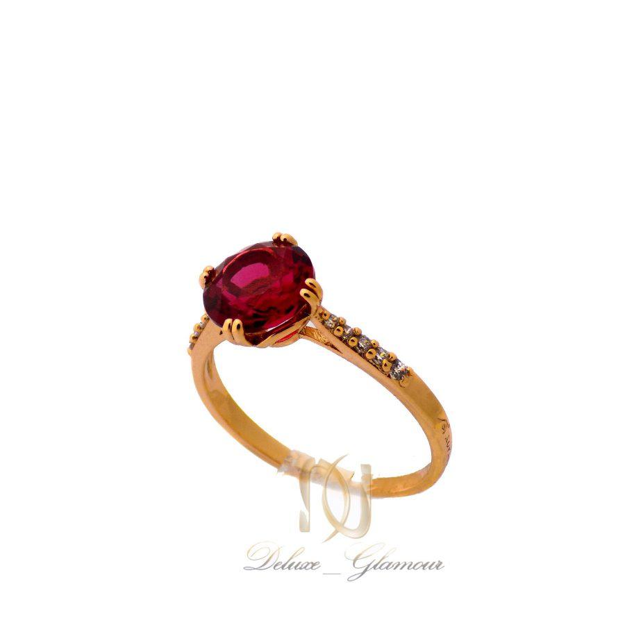 انگشتر زنانه ژوپینگ ظریف نگین قرمز rg-n372 از نمای روبرو