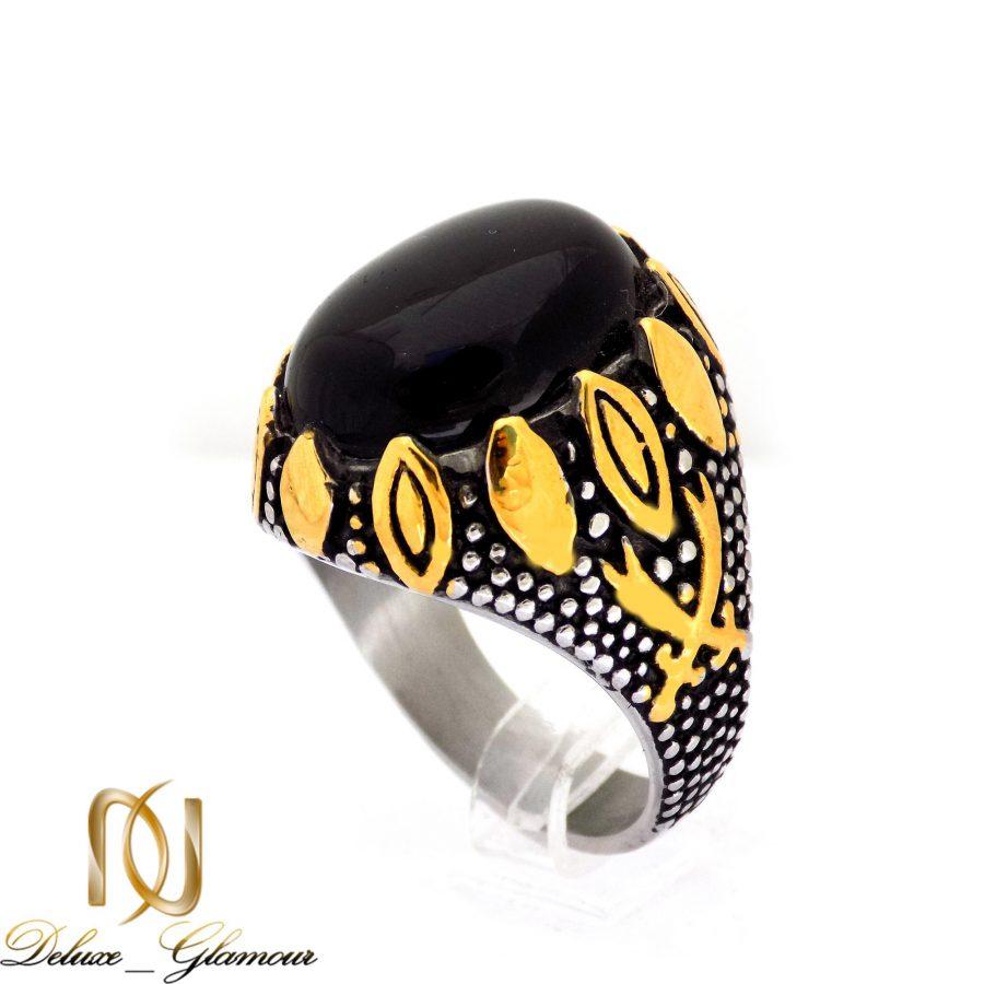 انگشتر مردانه استیل طرح نگین عقیق rg-n345 از نمای سفید