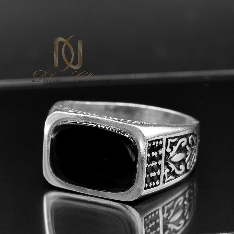 انگشتر مردانه نقره اسپرت نگین عقیق rg-n362 از نمای مشکی