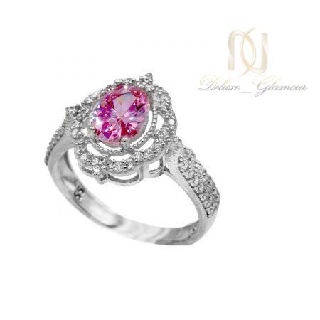 انگشتر نقره دخترانه جواهری نگین صورتی RG-N361 از نمای سفید