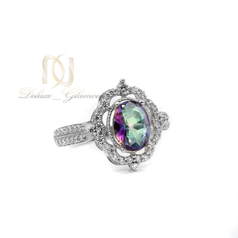 انگشتر نقره دخترانه نگین رنگی جواهری rg-n364 از نمای پایین