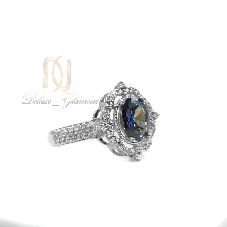 انگشتر نقره دخترانه نگین رنگی جواهری rg-n364 از نمای کنار