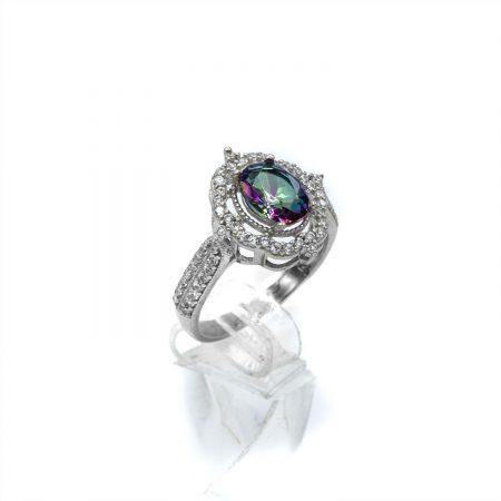 انگشتر نقره دخترانه نگین رنگی جواهری rg-n364 از نمای روبرو