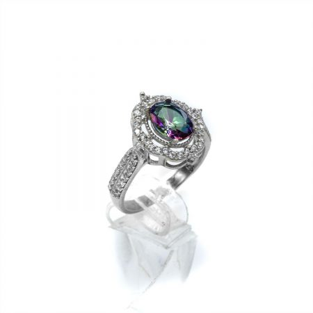 انگشتر نقره دخترانه نگین رنگی جواهری rg-n364