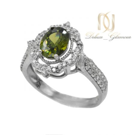 انگشتر نقره زنانه جواهری نگین سبز rg-n363