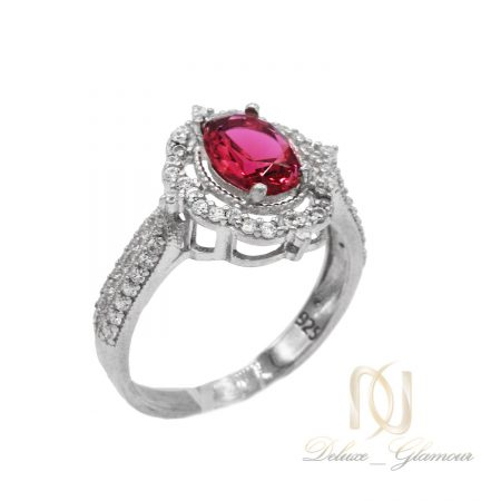 انگشتر نقره زنانه نگین قرمز جواهری rg-n358