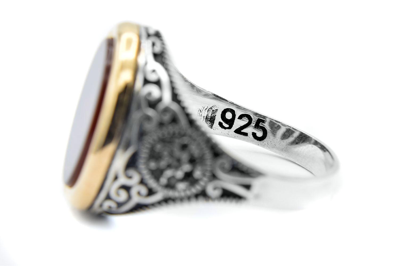 انگشتر نقره مردانه نگین عقیق سرخ rg-n377 از نمای داخل