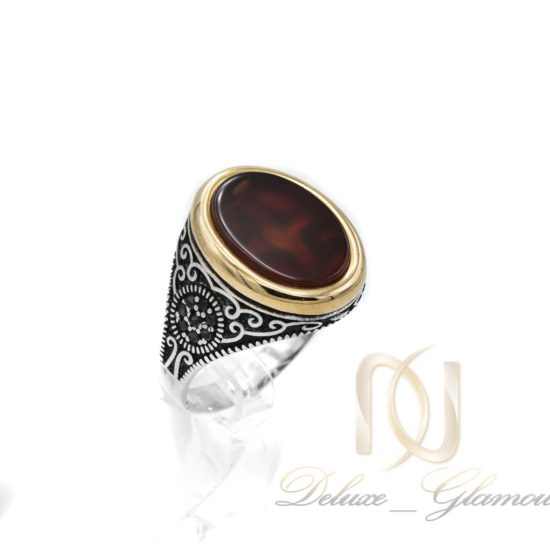 انگشتر نقره مردانه نگین عقیق سرخ rg-n377 از نمای روبرو