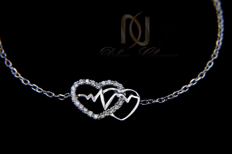 دستبند دخترانه ظریف طرح ضربان و قلب ds-n462 از نمای مشکی