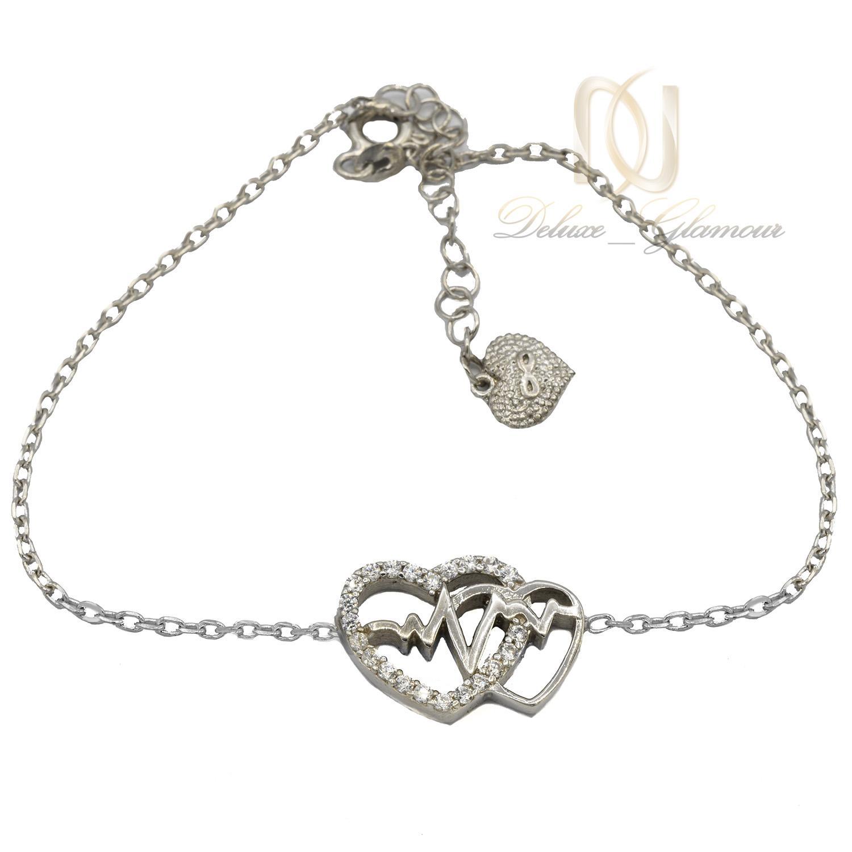 دستبند دخترانه ظریف طرح ضربان و قلب ds-n462 از نمای سفید