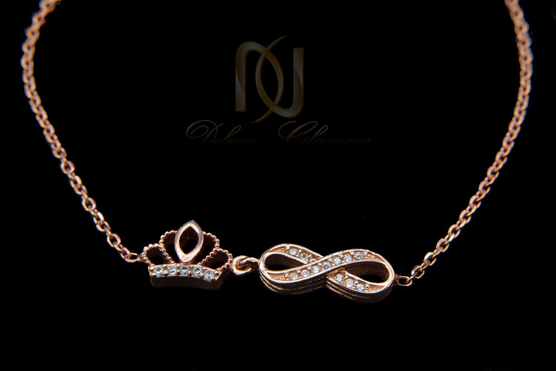 دستبند دخترانه نقره رزگلد تاج و بی نهایت ds-n44 از نمای مشکی