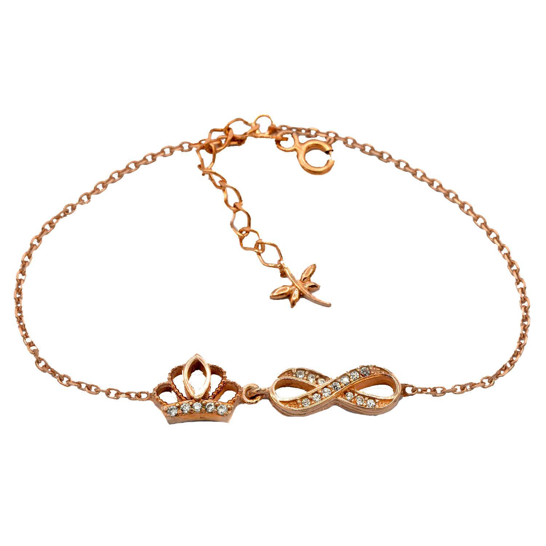 دستبند دخترانه نقره رزگلد تاج و بی نهایت ds-n44 از نمای سفید