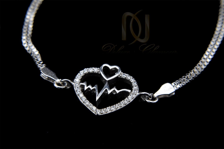 دستبند دخترانه نقره طرح ضربان قلب DS-N461