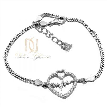 دستبند دخترانه نقره طرح ضربان قلب DS-N461 از نمای سفید