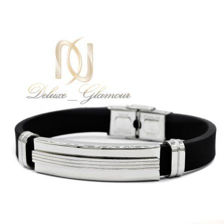 دستبند مردانه اسپرت تک ردیفه رویه استیل ds-n460 از نمای سفید
