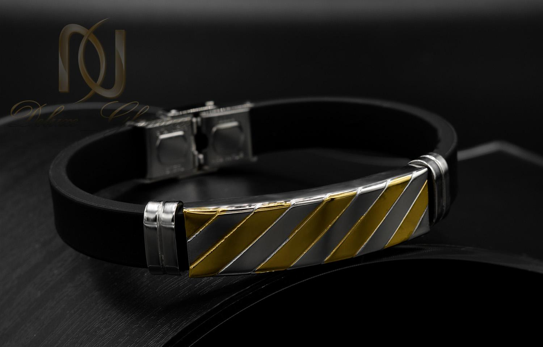 دستبند مردانه اسپرت رویه استیل دو رنگ ds-n447 از نمای مشکی