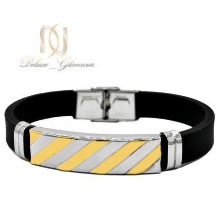دستبند مردانه اسپرت رویه استیل دو رنگ ds-n447 از نمای سفید