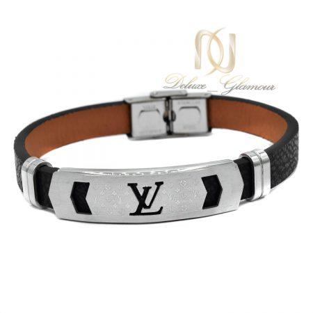 دستبند مردانه چرمی اسپرت طرح لویی ویتون ds-n466 از نمای سفید