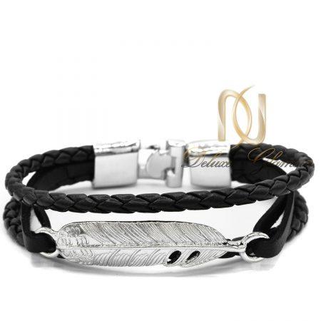 دستبند مردانه چرم اسپرت شیک طرح برگ ds-n457 از نمای سفید