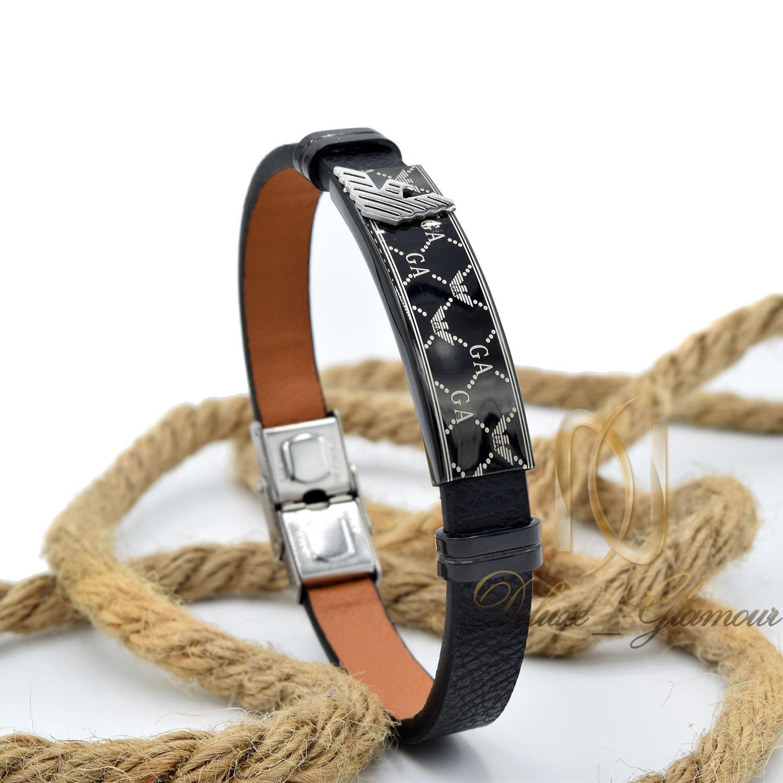 دستبند مردانه چرم طرح آرمانی تک ردیفه ds-n469 از نمای روبرو