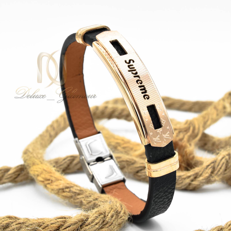 دستبند مردانه چرم طرح لویی ویتون ds-n474 از نمای روبرو