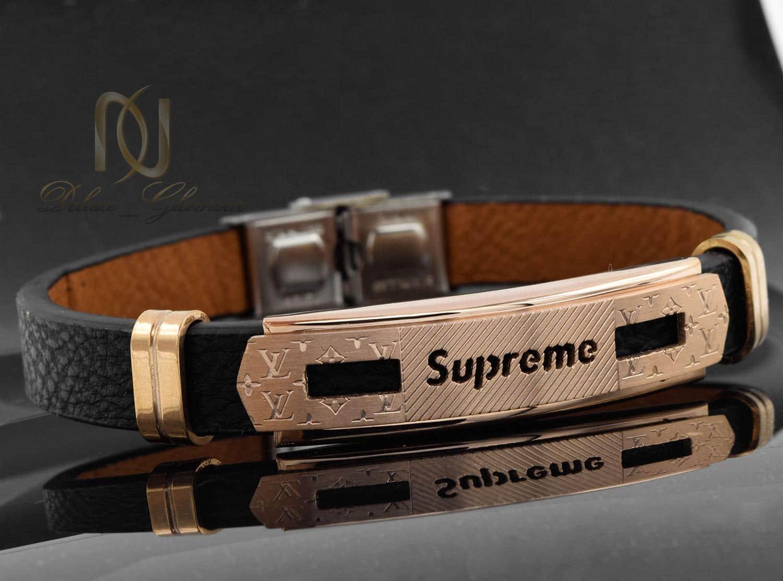 دستبند مردانه چرم طرح لویی ویتون ds-n474 از نمای مشکی
