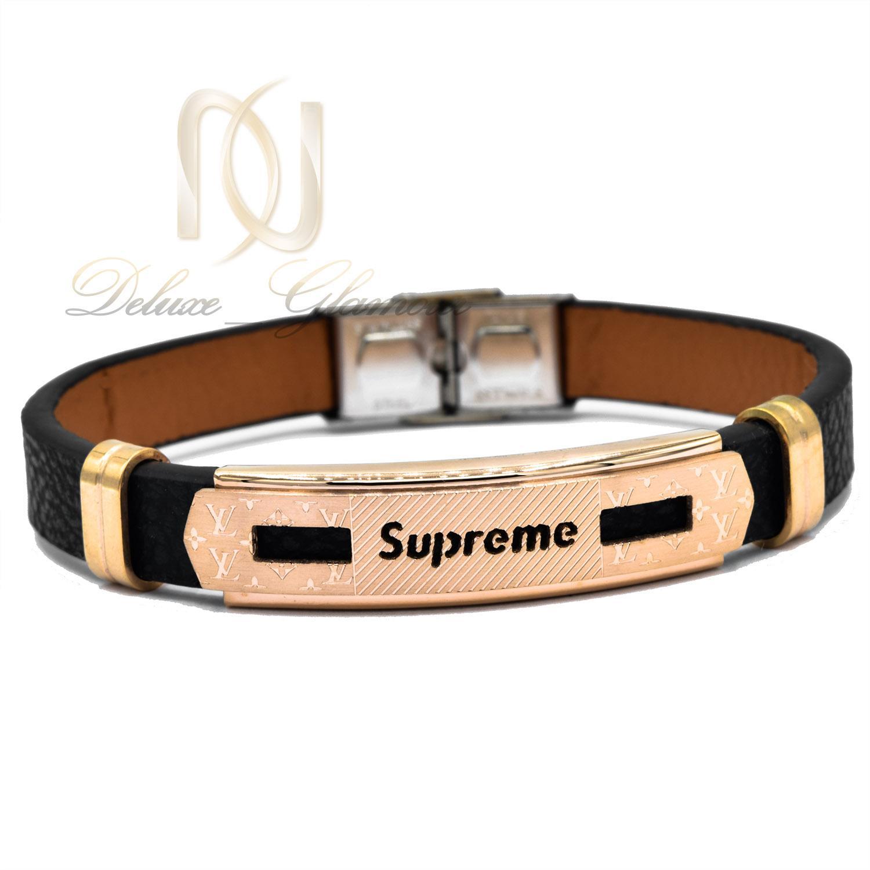 دستبند مردانه چرم طرح لویی ویتون ds-n474 از نمای سفید