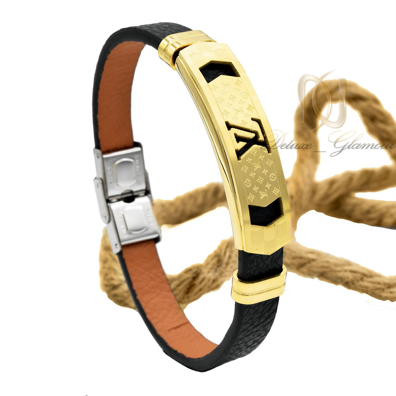 دستبند مردانه چرم مشکی طرح لویی ویتون DS-N464 از نمای روبرو