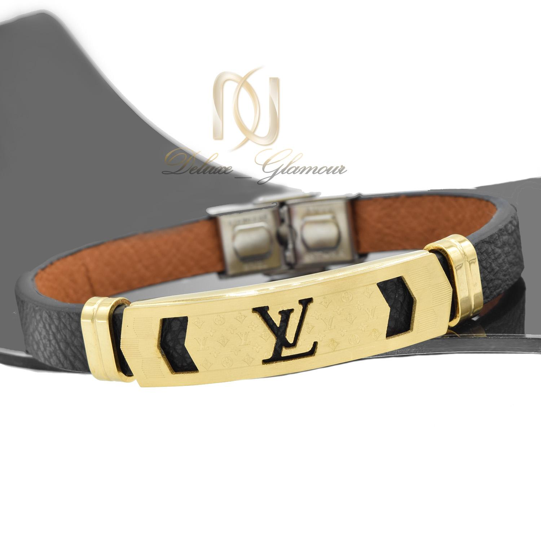 دستبند مردانه چرم مشکی طرح لویی ویتون DS-N464 از نمای دور