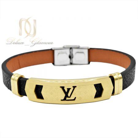 دستبند مردانه چرم مشکی طرح لویی ویتون DS-N464 از نمای سفید