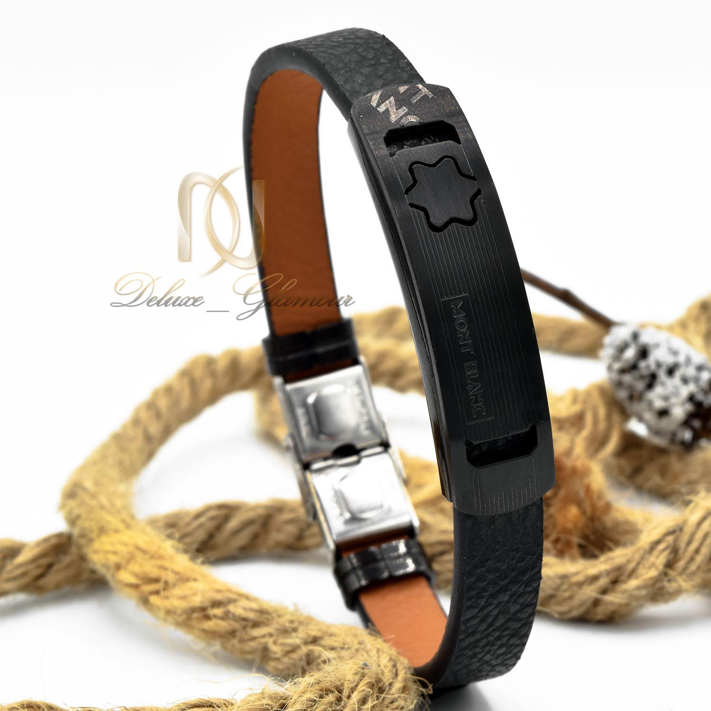 دستبند مردانه چرم مشکی مونت بلانک ds-n470 از نمای روبرو