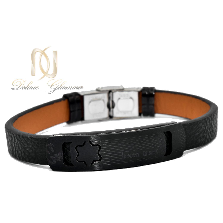 دستبند مردانه چرم مشکی مونت بلانک ds-n470 از نمای سفید