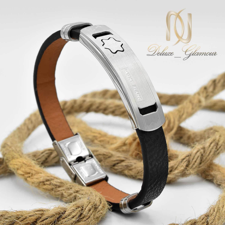 دستبند مردانه چرم مونت بلانک تک ردیفه ds-n472 از نمای دور