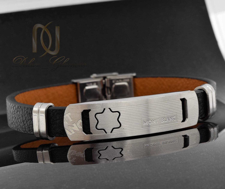 دستبند مردانه چرم مونت بلانک تک ردیفه ds-n472 از نمای مشکی