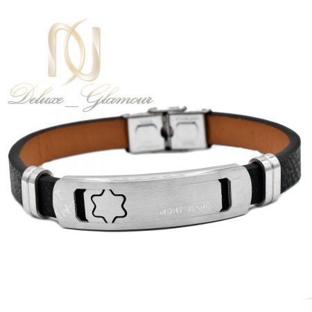 دستبند مردانه چرم مونت بلانک تک ردیفه ds-n472 از نمای سفید