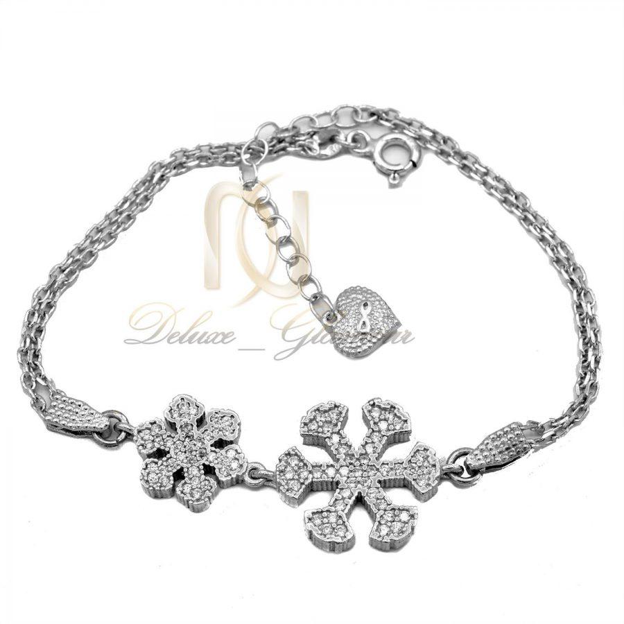 دستبند نقره دخترانه ظریف طرح برف ds-n459 از نمای سفید