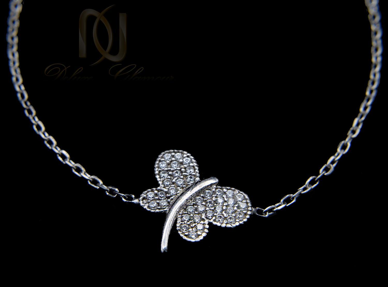 دستبند نقره دخترانه ظریف طرح پروانه ds-n449 از نمای مشکی