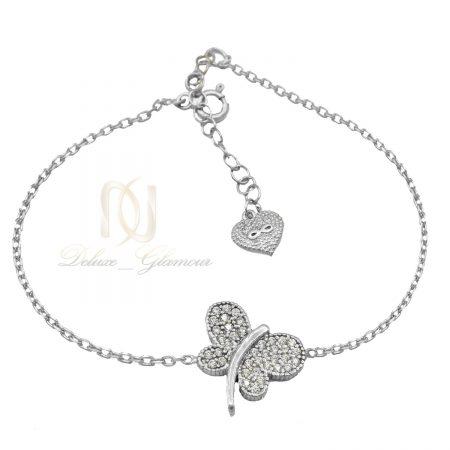 دستبند نقره دخترانه ظریف طرح پروانه ds-n449 از نمای سفید