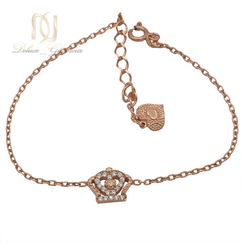 دستبند نقره دخترانه ظریف طرح کویین رزگلد ds-n458 از نمای سفید