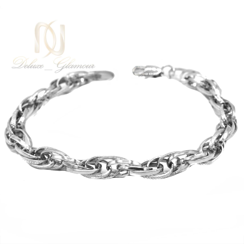 دستبند نقره زنانه طرح طلا سفید کارتیه ds-n468 از نمای سفید