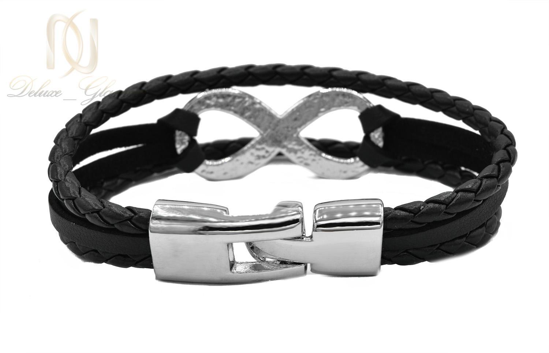دستبند چرم اسپرت سه ردیفه طرح بی نهایت ds-n446 از نمای پشت