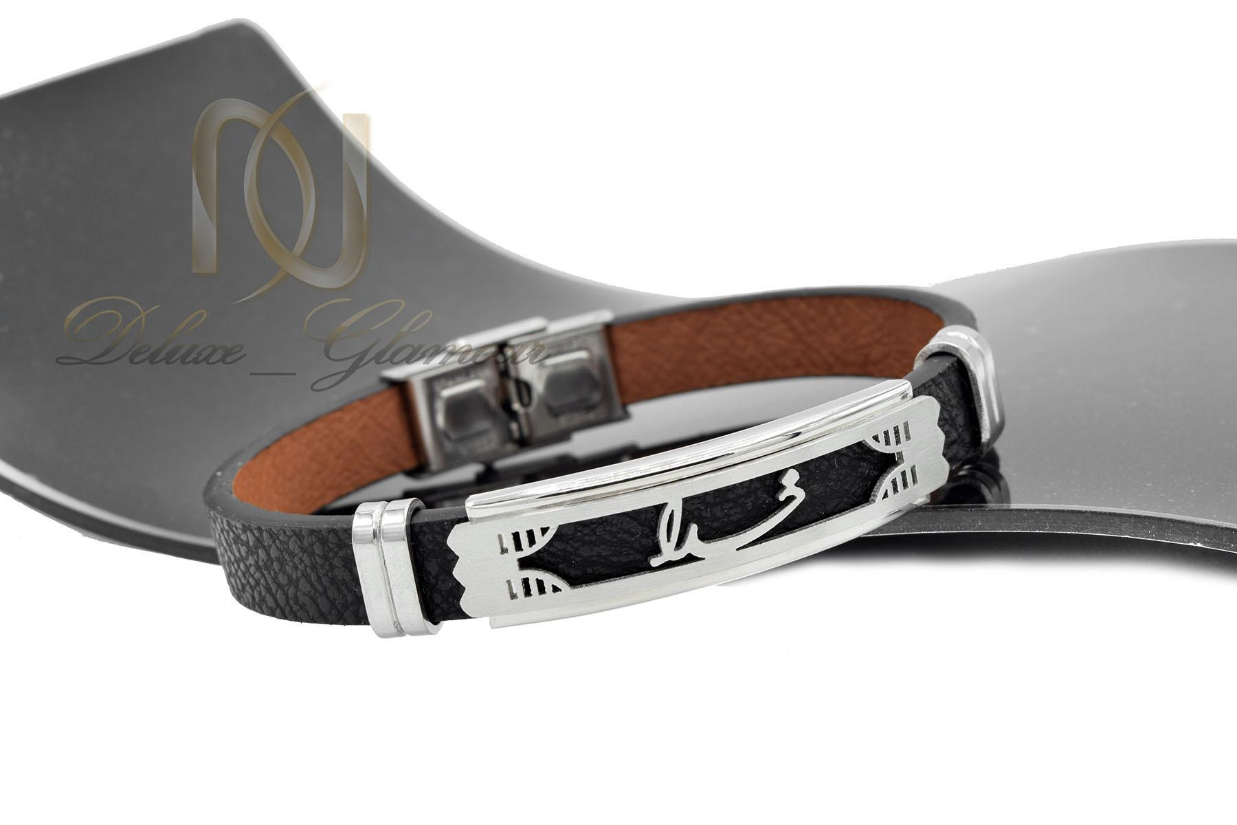 دستبند چرم اسپرت مشکی رویه نام خدا DS-N467 از نمای مشکی