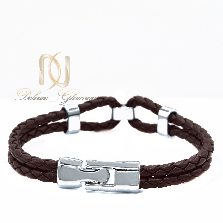دستبند چرم مردانه دو ردیفه طرح بافت ds-n450 از نمای پشت