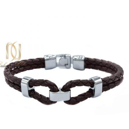 دستبند چرم مردانه دو ردیفه طرح بافت ds-n450 از نمای سفید