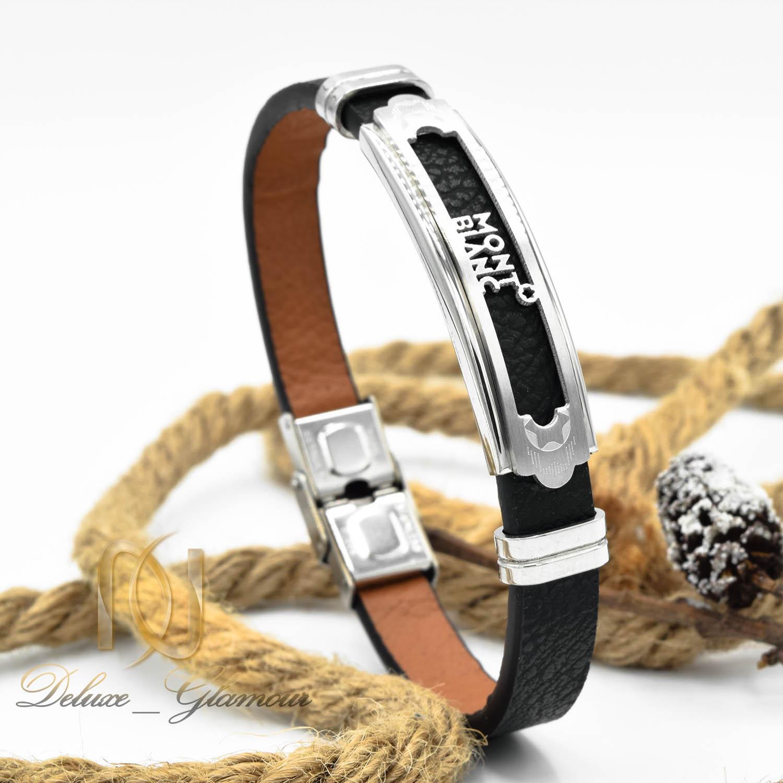 دستبند چرم مردانه طرح مونت بلانک اسپرت ds-n471 از نمای روبرو