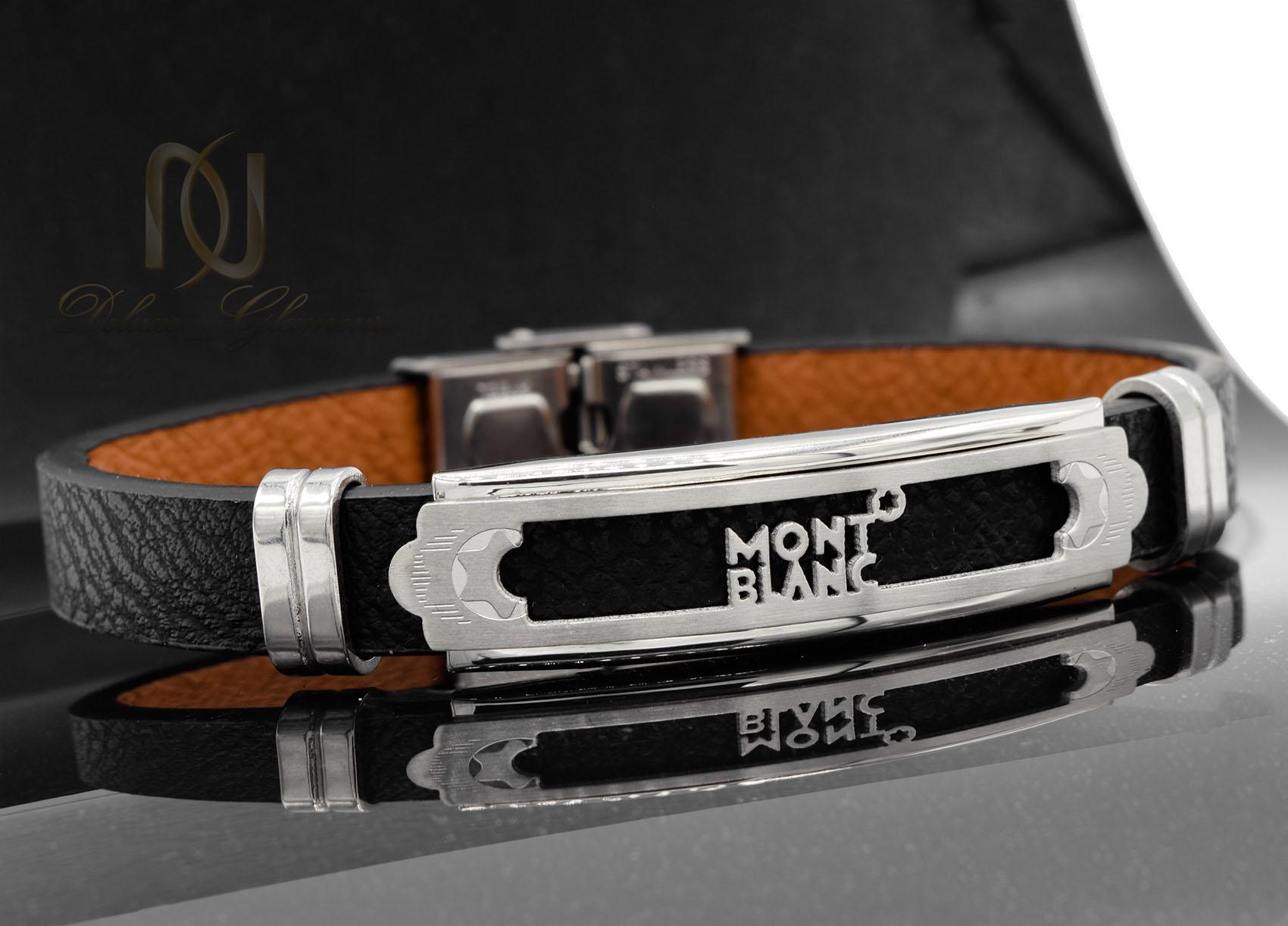 دستبند چرم مردانه طرح مونت بلانک اسپرت ds-n471 از نمای مشکی