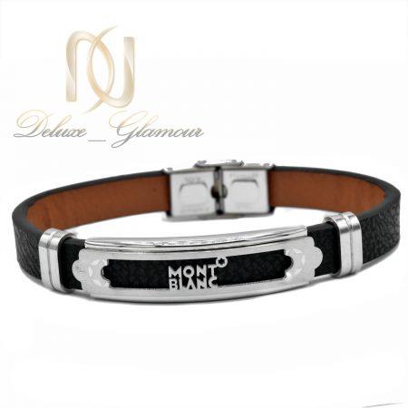 دستبند چرم مردانه طرح مونت بلانک اسپرت ds-n471 از نمای سفید