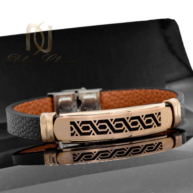 دستبند چرم پسرانه اسپرت رویه رزگلد DS-N473 از نمای مشکی
