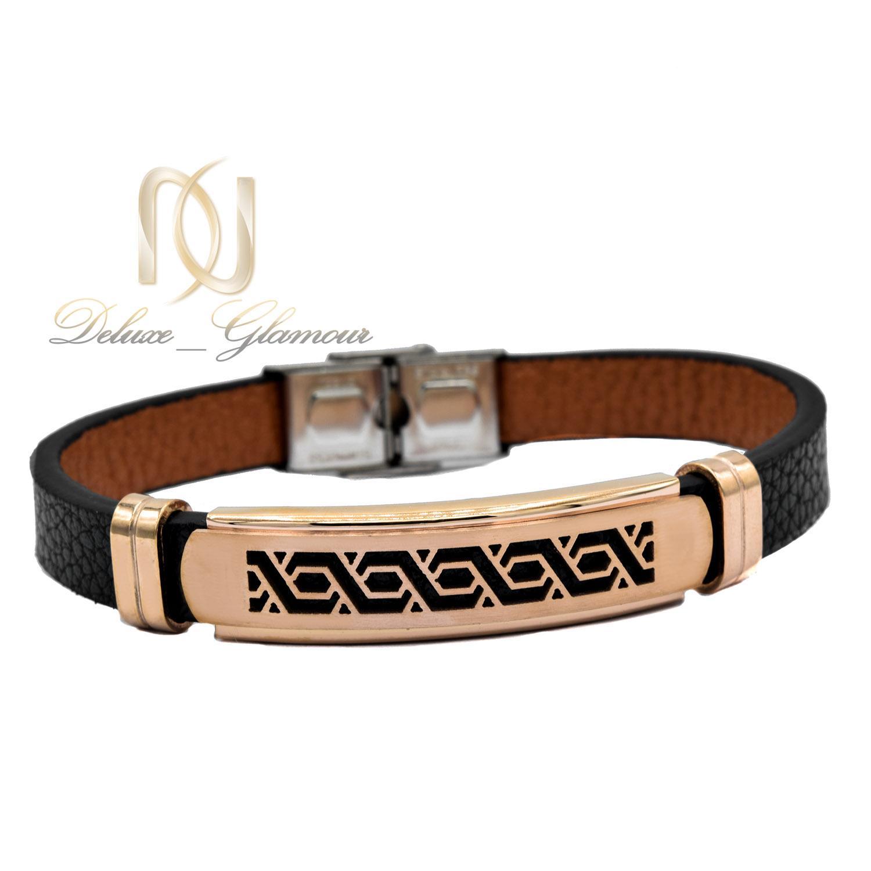 دستبند چرم پسرانه اسپرت رویه رزگلد DS-N473 از نمای سفید